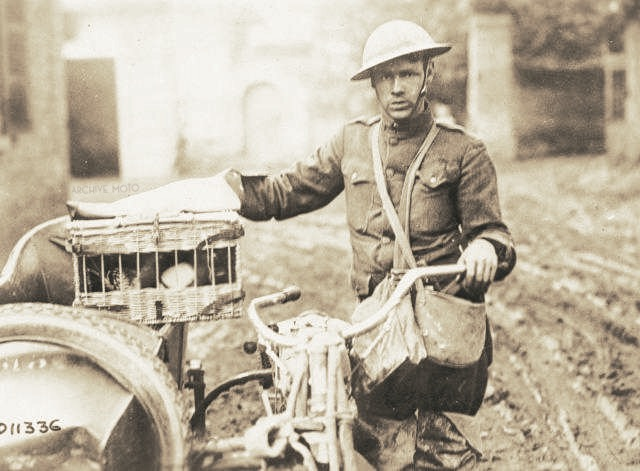 Photographed is a tired U.S. Army Signal Corp dispatch rider transporting homing pigeons in his Indian sidecar to the front in Northwestern France, Spring 1918.