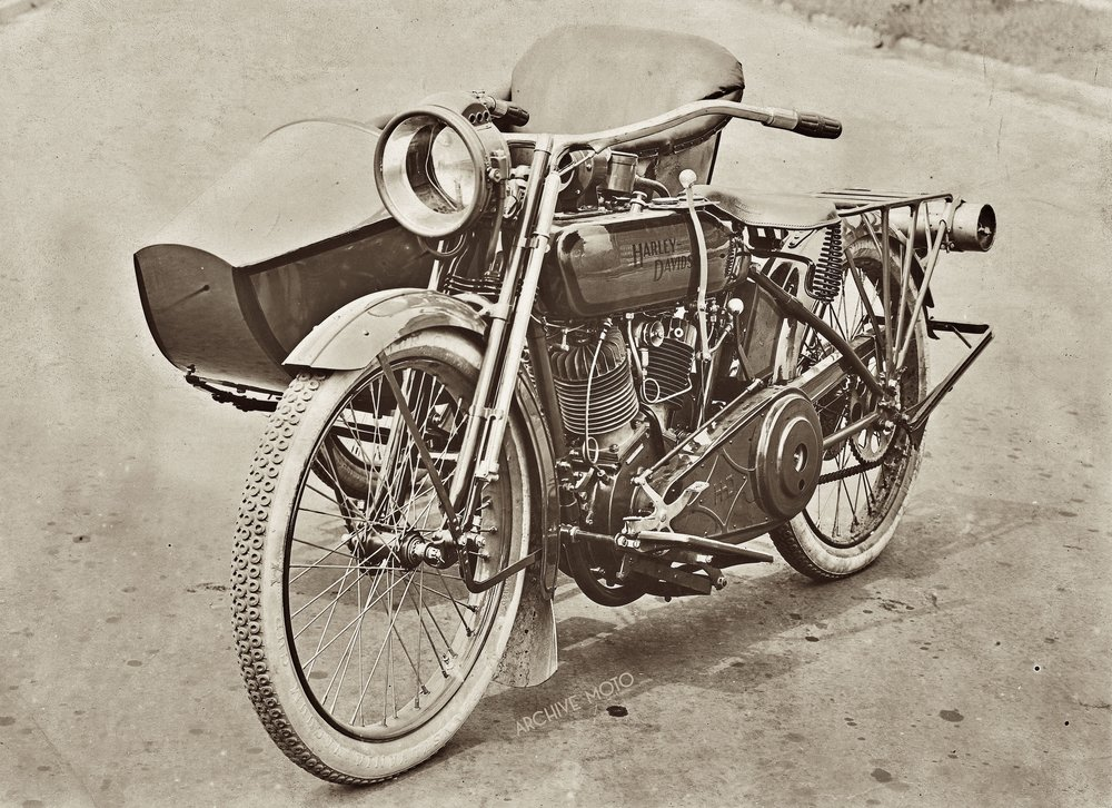 Photographed for the US War Department is a 1918 Harley-Davidson Model F with Sidecar, a refined and capable modern machine for citizen's of the world's newest super-power.