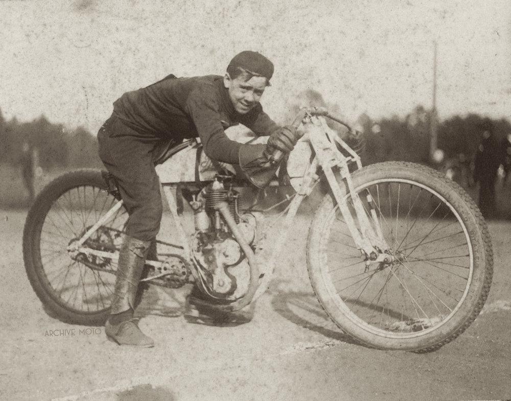 "Oscar Reneau ""Nemo"" Lancaster onboard a 1913 Thor Model W single at the Piedmont Park horse track for the Atlanta Motorcycle Club races in October, 1912."