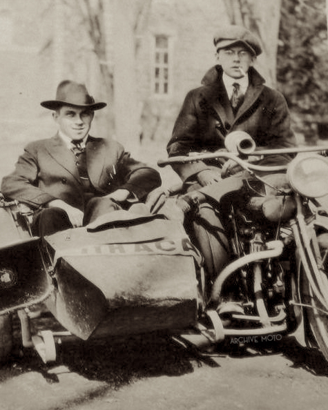 Two gents and their Indian sidehack, Ithaca, NY ca. 1910.