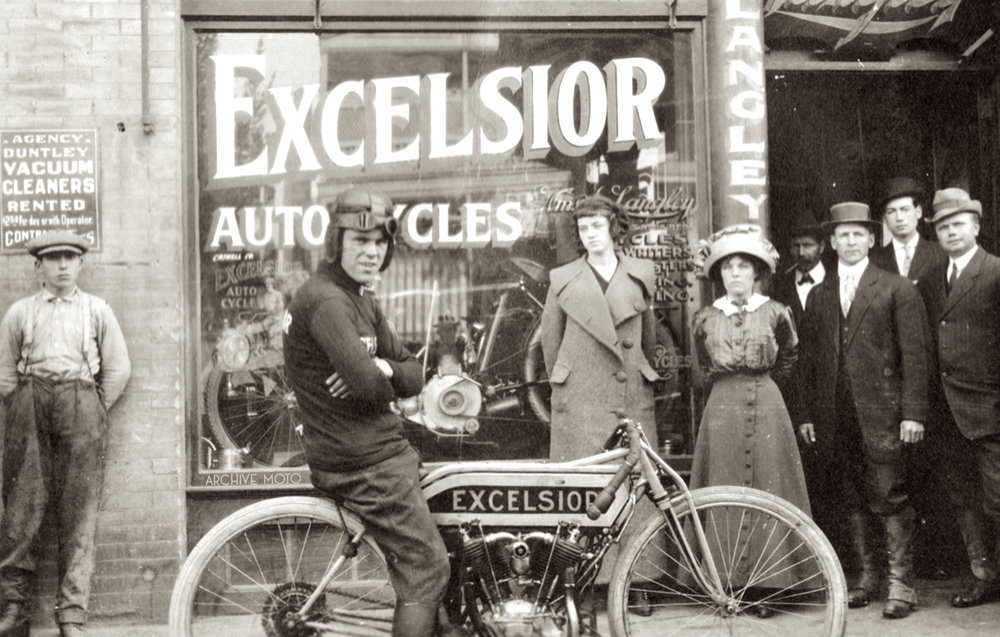 Charles Van Balke onboard his newly acquired Excelsior 7 in front of William A. Langley's Excelsior dealership in downtown Sacramento, CA in late October, 1911.