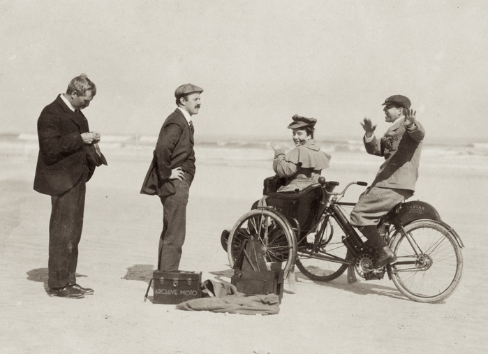 Thomas K. Hastings and his lovely wife onboard their Indian Trip-Car on Ormond Beach in January 1906.