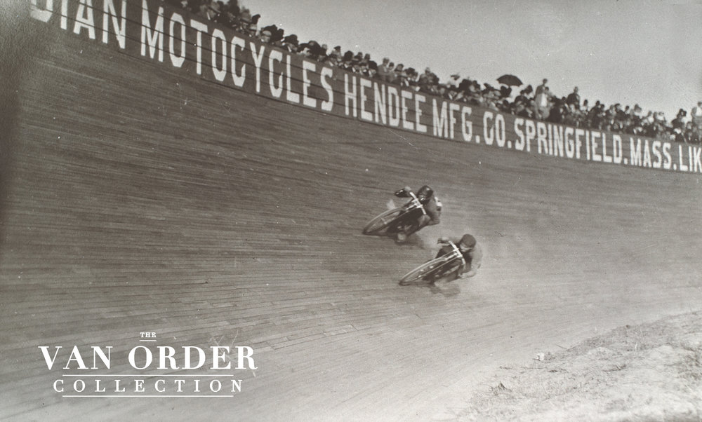 Morty Graves and Al Ward jockey their Merkels on the 48 degree banking of the Los Angeles Coliseum motordrome in October 1910.