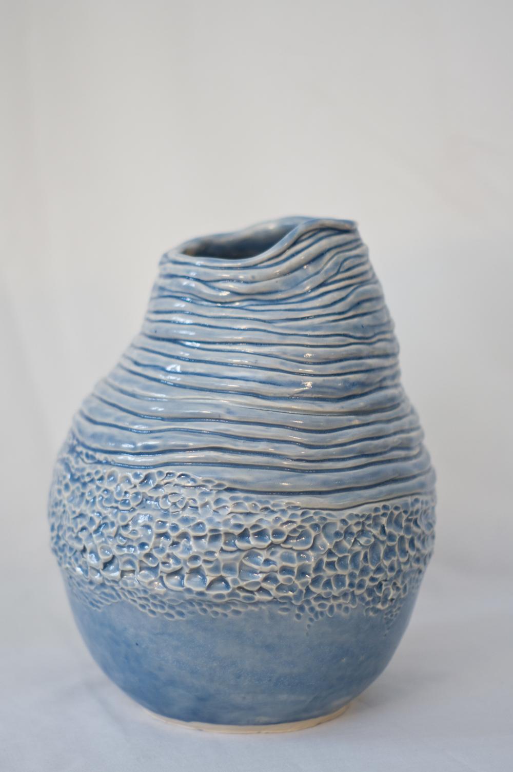 """Celadon Coil Pot   Stoneware  8"""" x 9 1/2""""  2013"""