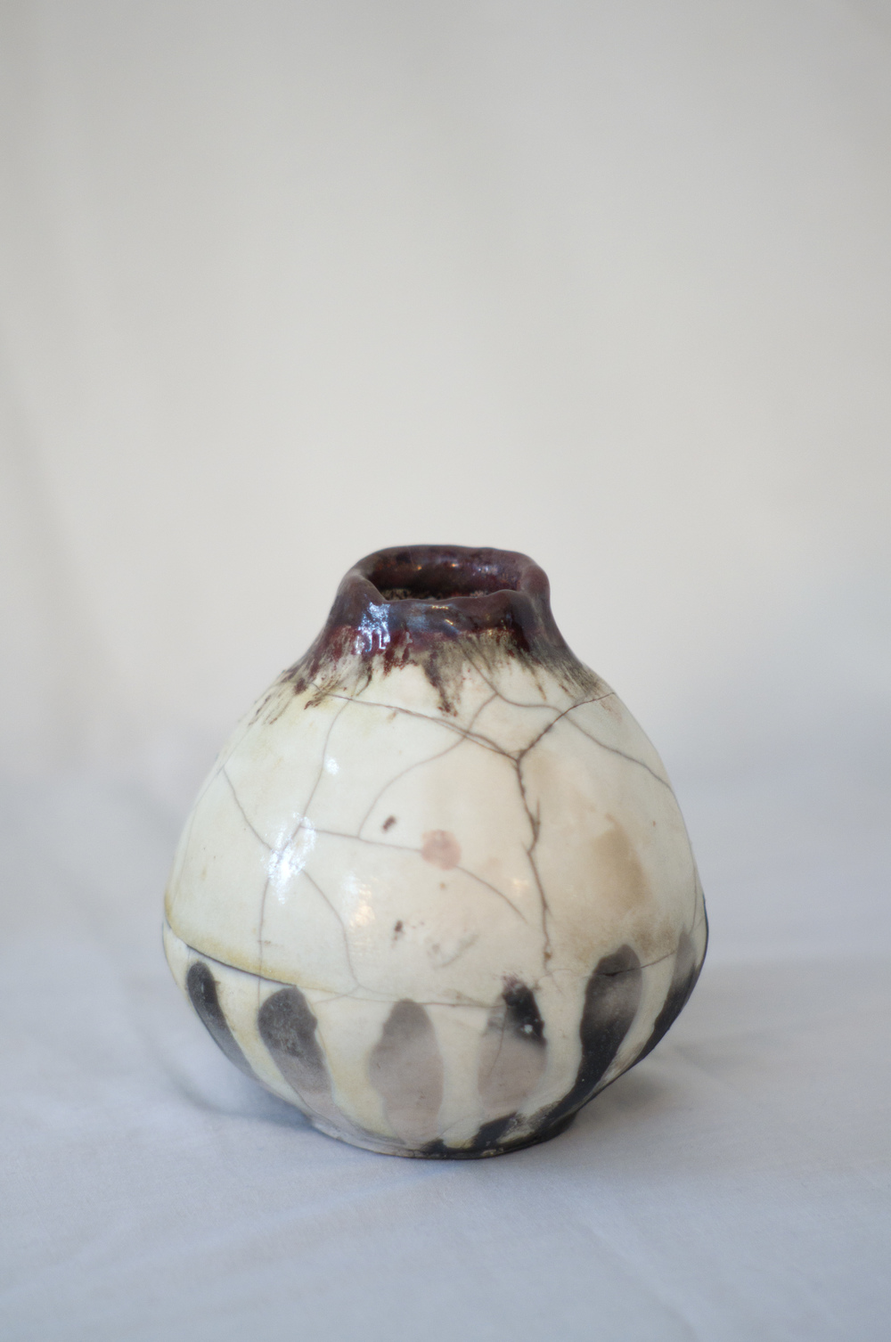 "Raku Pinch Pot    Stoneware  5 2/16"" x 5""  2013   (This piece has already found a home  : sold)"