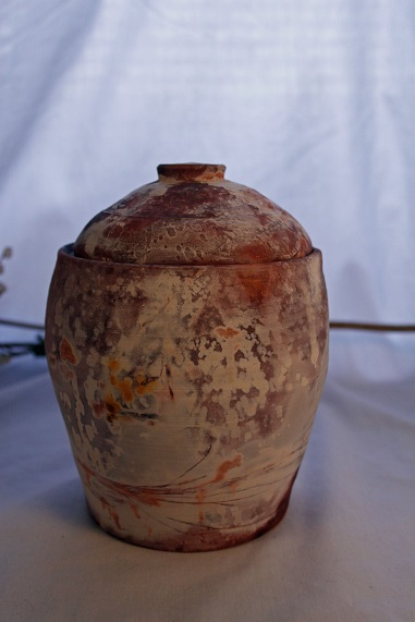"Sagger Fire Canister   Stoneware  Height:6""  Diameter: 4 1/4""  2014"