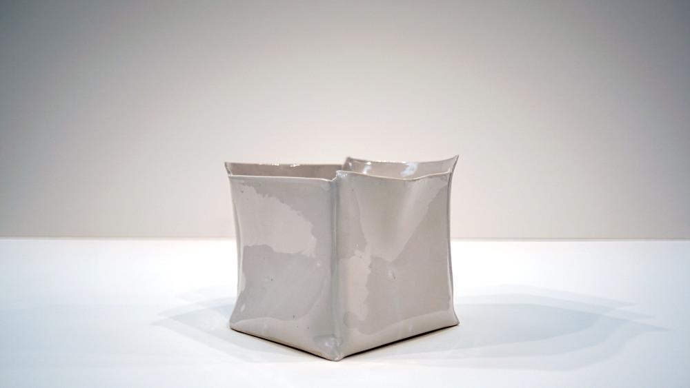 """Seamed Cube   2015  Porcelain  H. 5"""" D. 5"""" W. 5"""""""