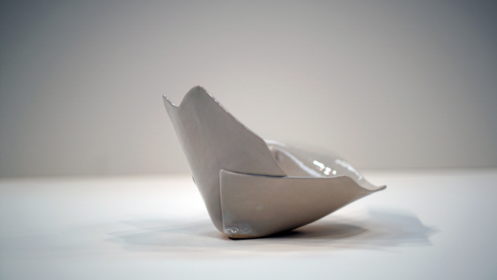 "Three Cuts   2015  Porcelain  H, 4.5"" D. 9"" W. 3.5"""