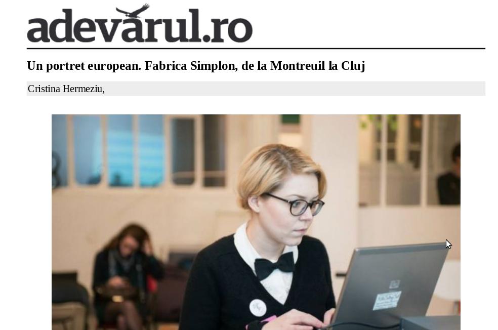 Adevarul - despre Fabrica Simplon de la Montreuil la Cluj