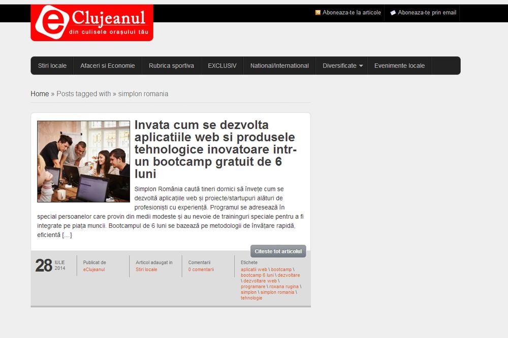 E-Clujeanul - Invata cum se dezvolta aplicatiile web si produsele tehnologice inovatoare