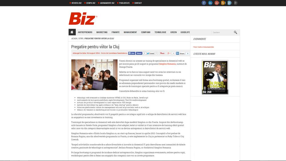 Revista Biz - Pregatire pentru viitor la Cluj