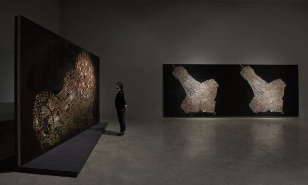 "Kyungah Ham, ""Chandeliers"" installation (Courtesy Suzhou Documents)"