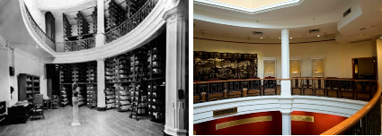 Stack and counter area, Fung Ping Shan Library, 1938 (left); 2/F of the Fung Ping Shan Building, 2014 (right)