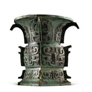 "5. Fang-zun vessel with the inscription ""Ying Meng"" Mid-Western Zhou Dynasty 應(金黽)方尊 西周中期"