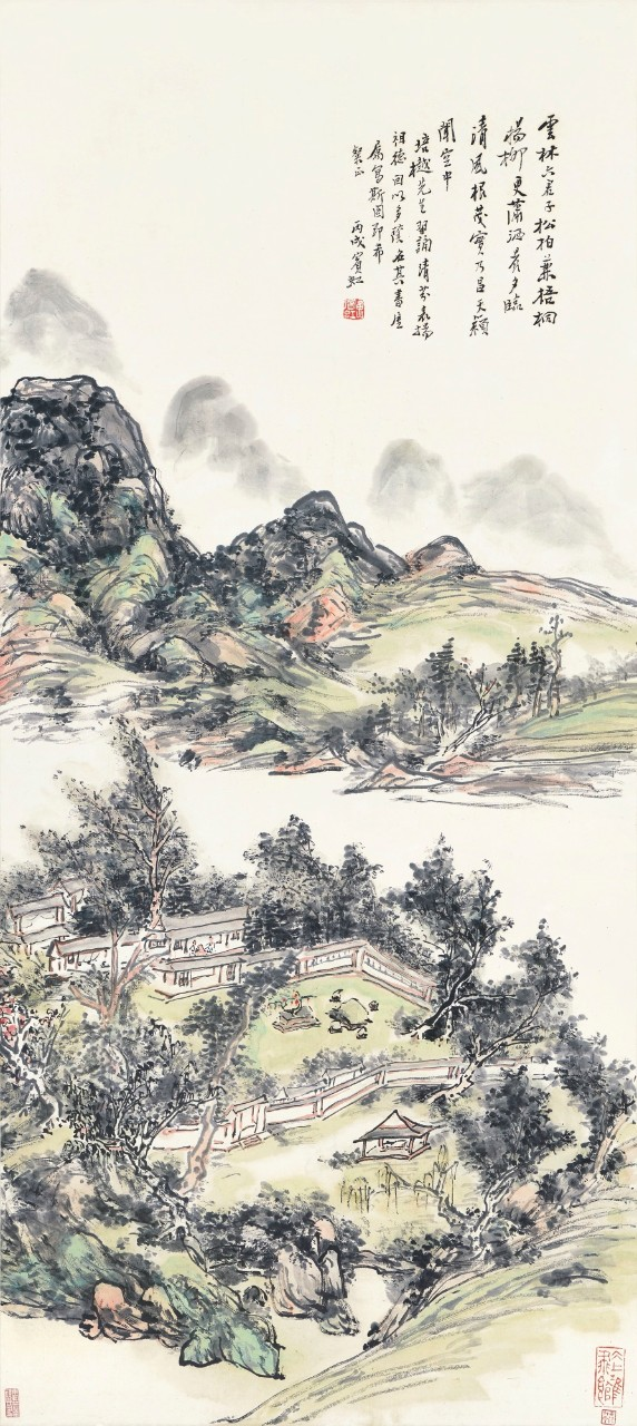Image: Huang Binhong, Studio Amid Verdant Mountains, ink and colour on paper, hanging scroll, 118 x 52.8 cm.  Estimate: HK$4 million — 6 million/ US$515,520 - 773,280