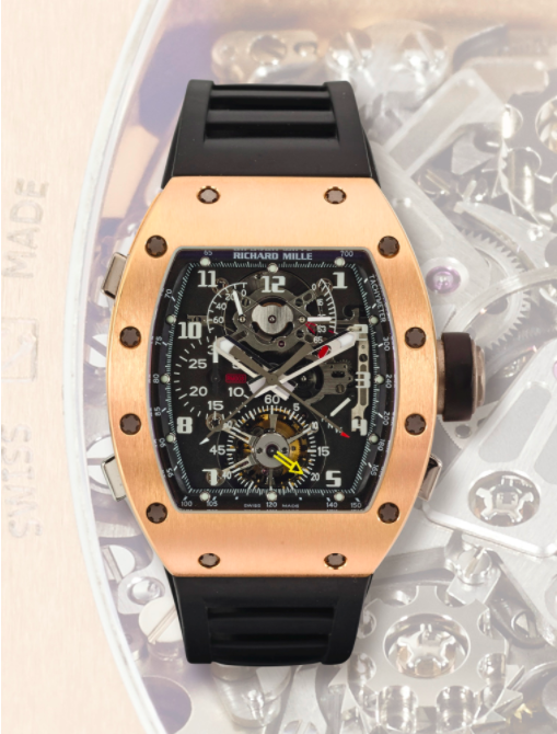 Image: A Very Rare And Unusual PinkGold Tonneau Form Tourbillon Split Seconds Chronograph Wristwatch With Power Reserve And Torque Indicationfrom Richard Mille Estimate: HK$1.85 million – 2.8 million/ US$238,373 - 360,780