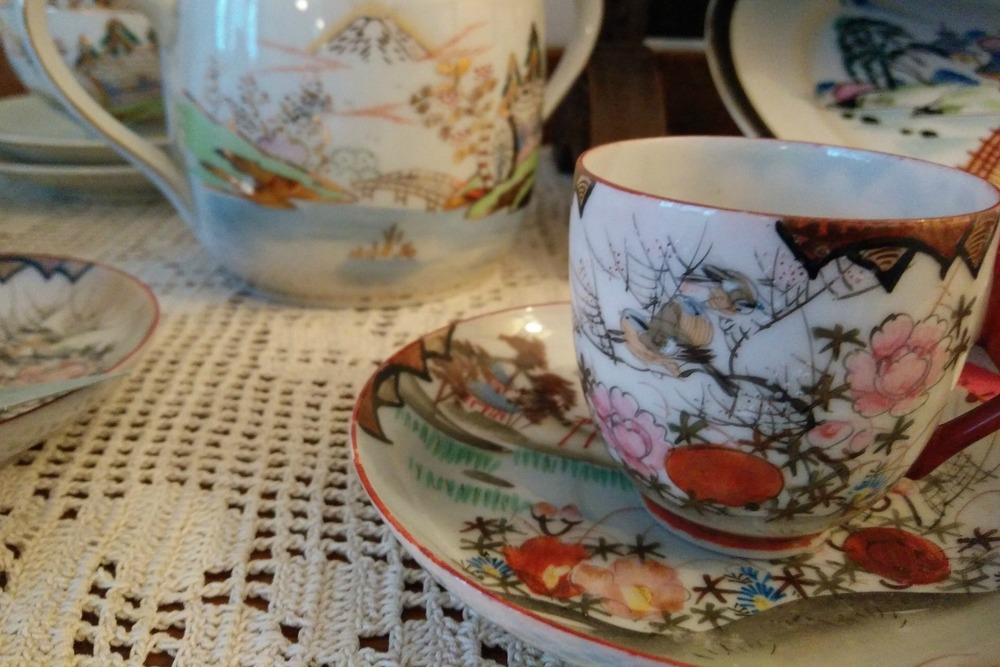 Beautiful cups and saucers like these can be found in the tea room.