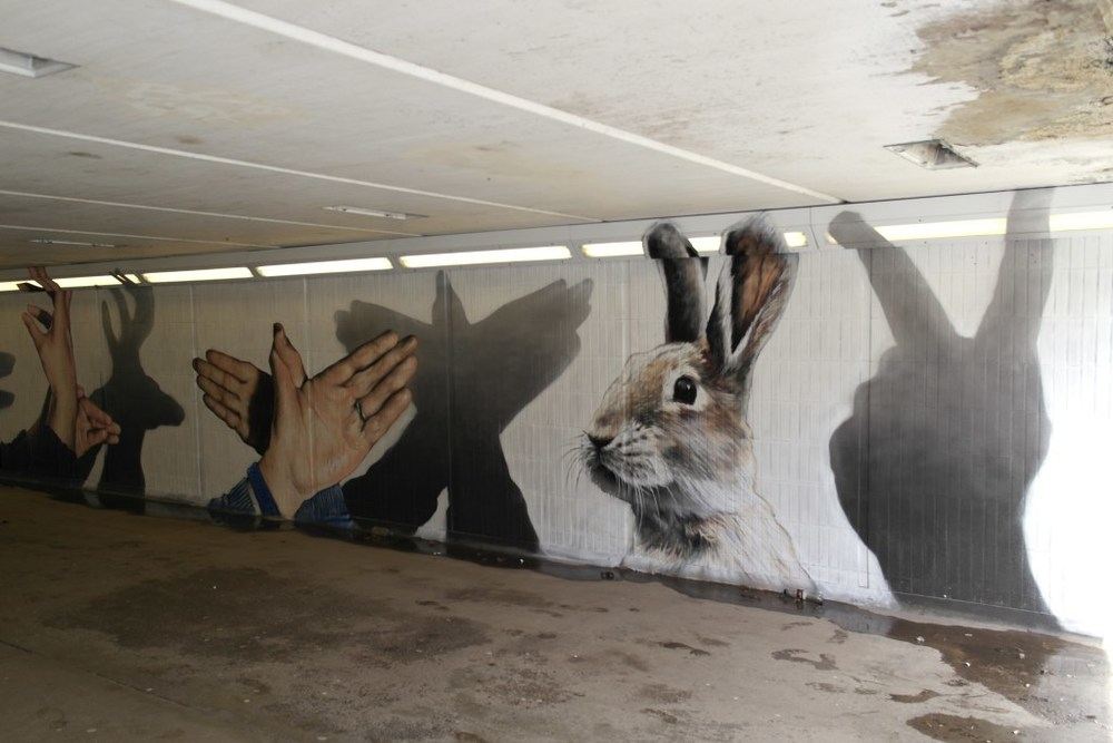 Hand shadow puppets brighten up an otherwise dingy underpass at Cowcaddens. Credit: Art Pistol/Rogue-One