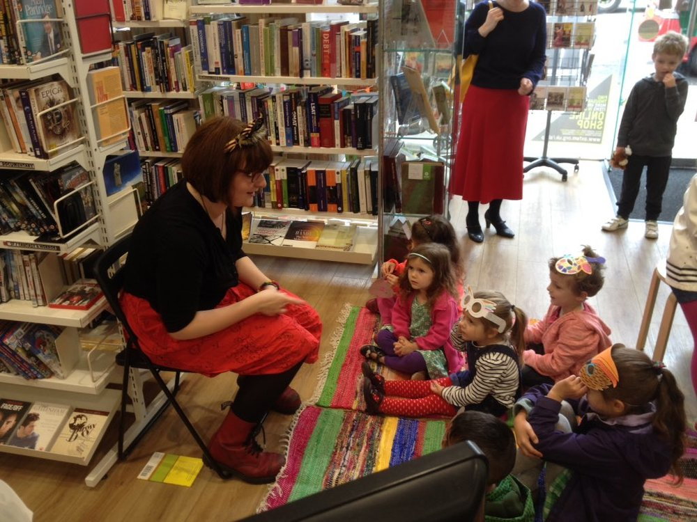 Storytelling in Oxfam during Jungle Book Day. Photo by Oxfam Books.