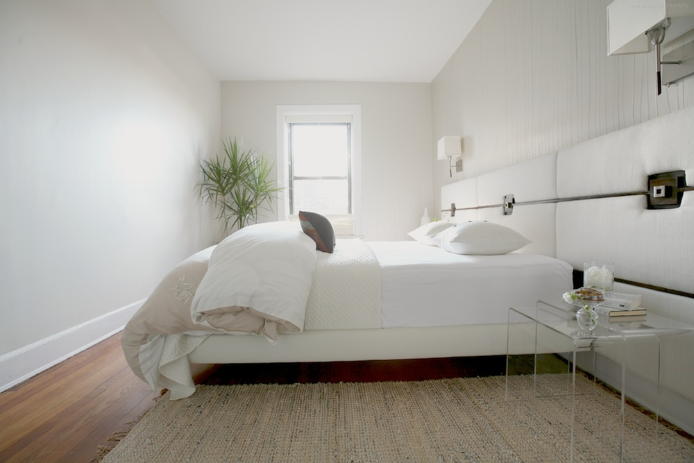 Brooklyn interior design project: master bedroom decor.  All white interior.