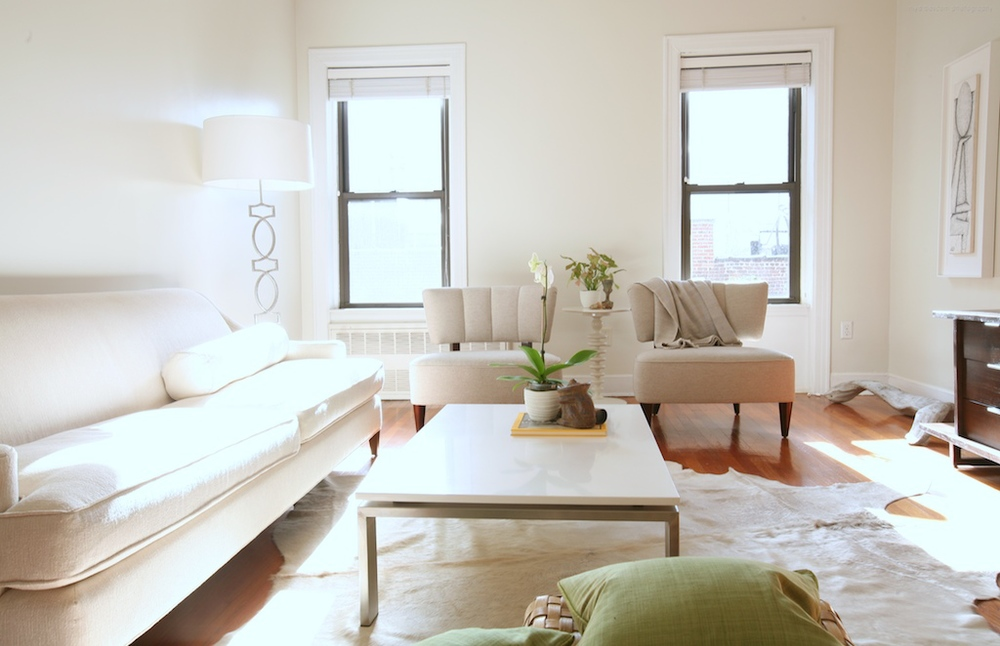 """Brooklyn interior design project: living room decor.  All white interior."""