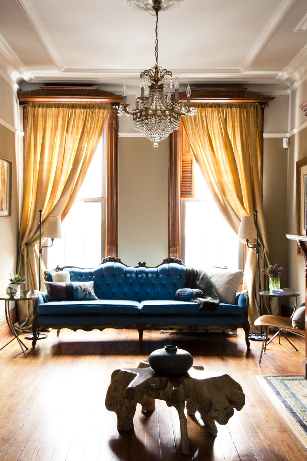 """Brooklyn brownstone interior design project: eclectic living room decor"""
