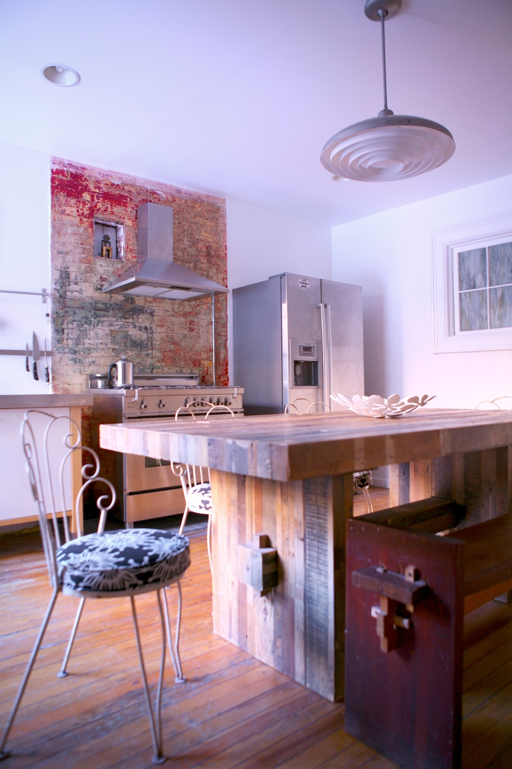"""Brooklyn brownstone interior design project: kitchen renovation.  Eclectic rustic white interior."""