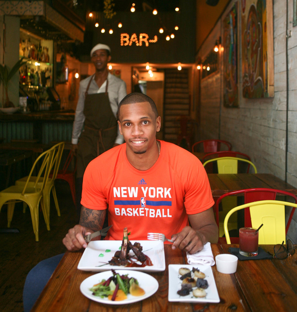 """Food is great, service is great and the vibe is great."" - NY Knicks forward, Lance Thomas, on why he keeps coming back to Spur Tree.   Lance readily became our official food taster, as we, the pescatarians, had to sit out the beautifully plated dish of jerked lamb with mint and tamarind sauce.  Other dishes prepared for us were a summer salad featuring beets and blood oranges, and roasted purple potatoes with sautéed spring onions."