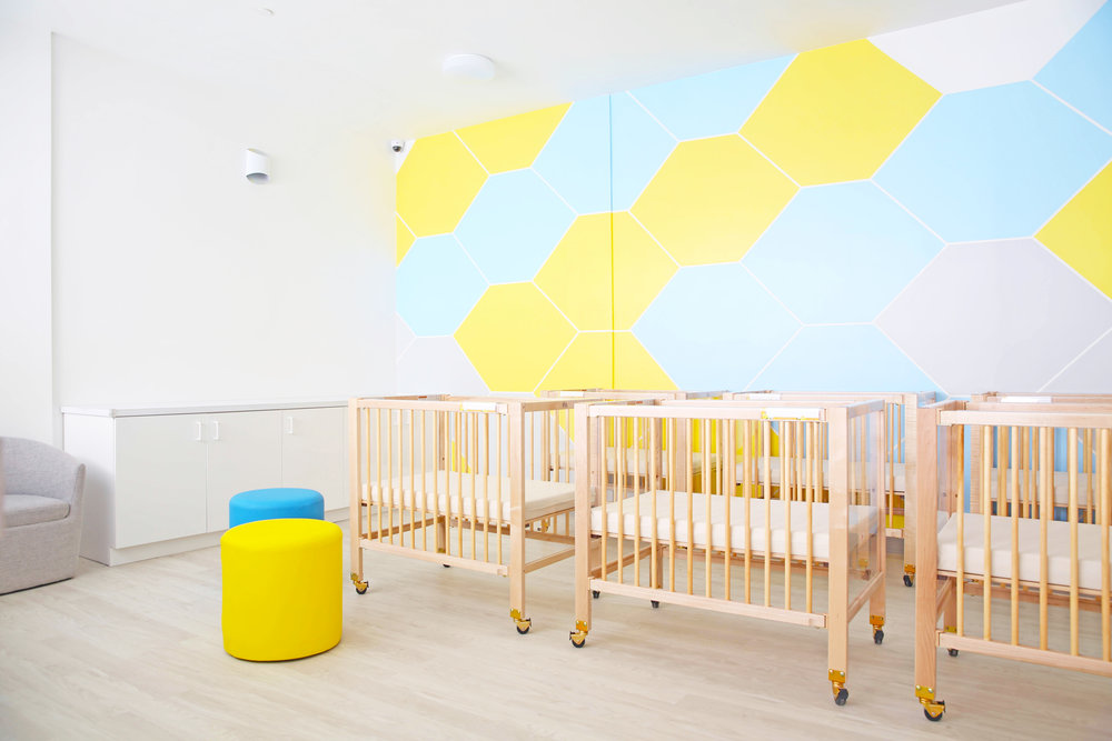 Daycare interior design project. Gut renovation of a former thrift shop.  Modern, minimal interiors.  Photo credit: Niya Bascom Photography.  Please do not use images without express written permission from Ishka Designs or Niya Bascom
