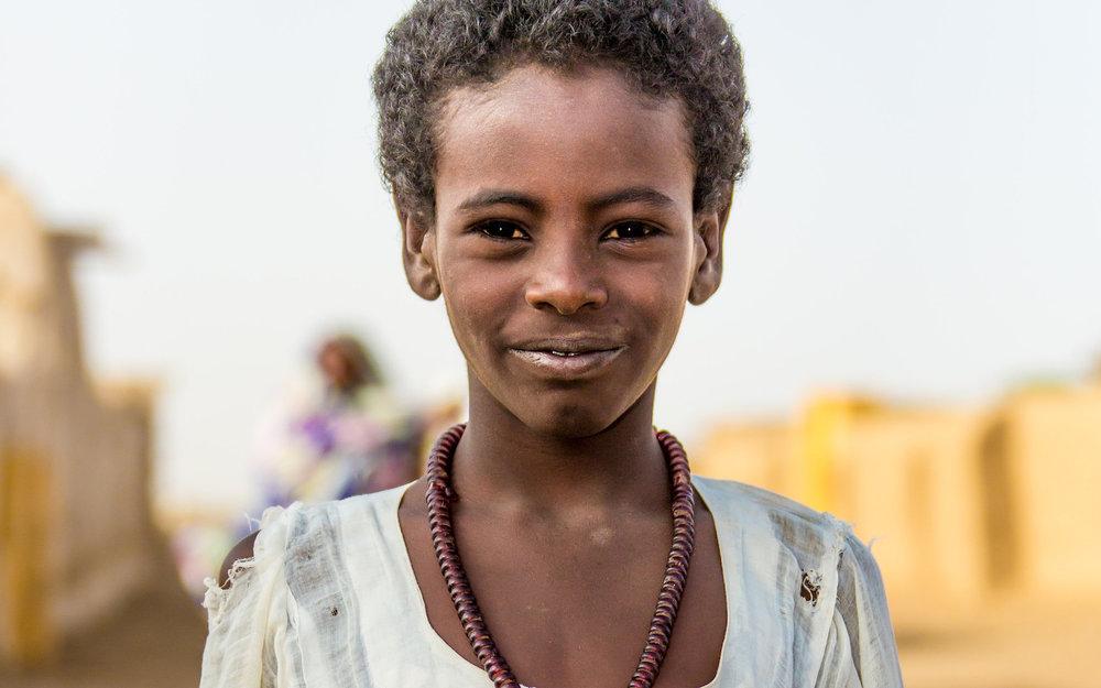 A young girl near Kassala, Eastern Sudan  Filming for the international NGO Muslim Aid