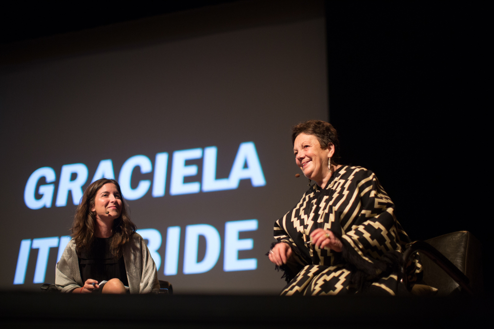 Graciela Iturbide on stage at the Paramount Theater. Photo © Shannon Wells