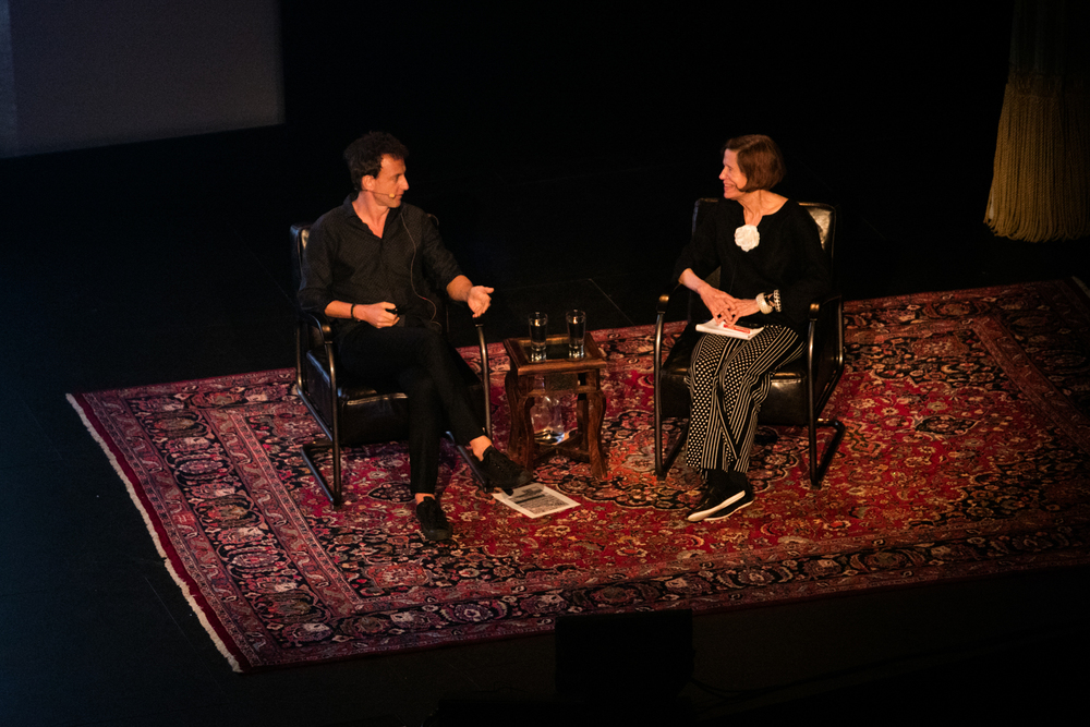 Nick Brandt on stage with Vicki Goldberg at the Paramount Theater. Photo © Tom Daly
