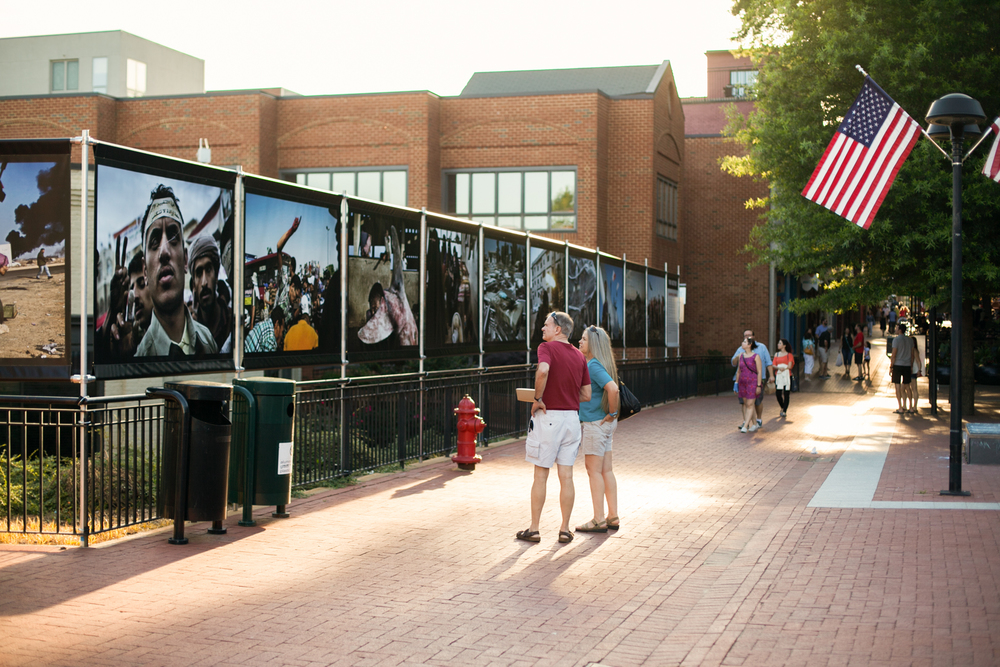 Yuri Kozyrev's exhibit by the Free Speech Wall on the downtown mall.  Photo © Tom Daly