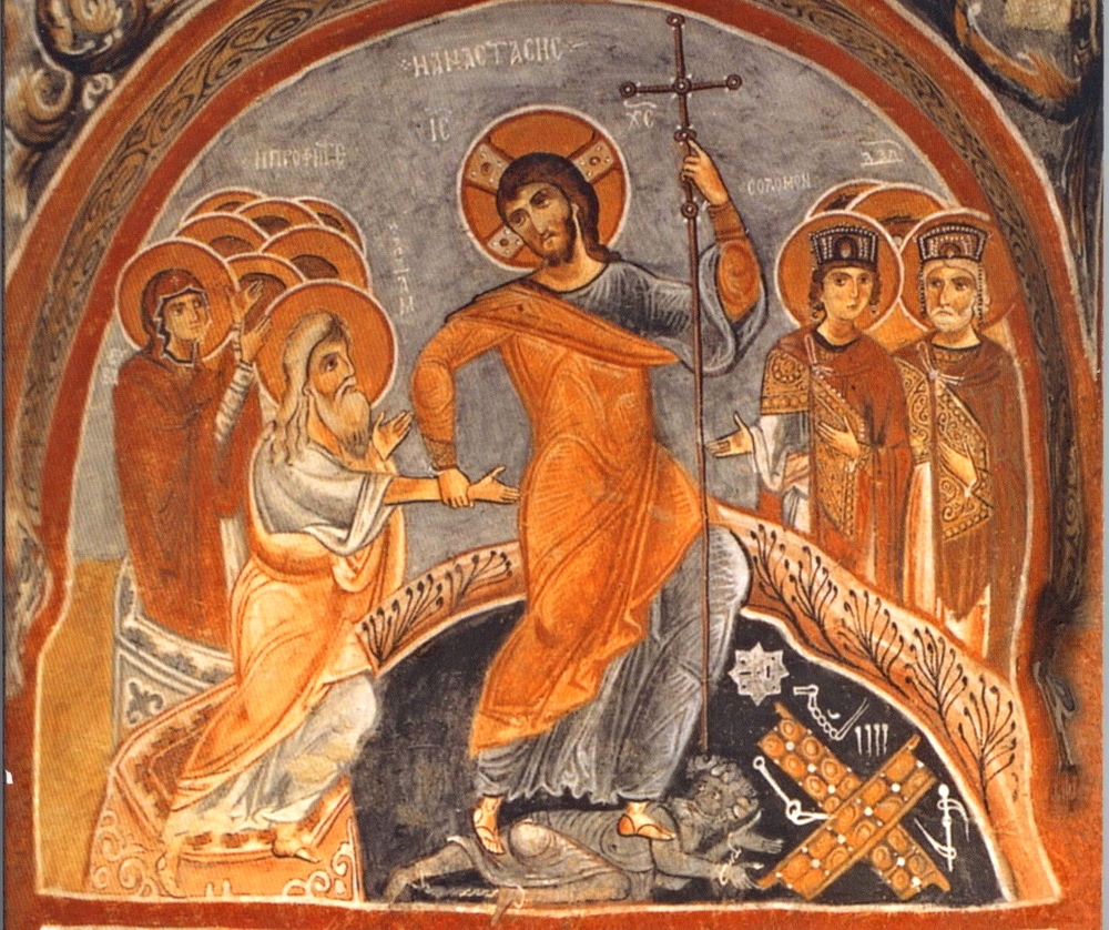 Icon of the Resurrection   Following the Lectionary in rhythm with the Church Year as Storytellers is one of three practices by which we Listen to the Word, the other two being interpreting the Word according to the Apostolic Rule of Faith as Pattern-Keepers and observing the Constitution of Basileia as Overcomers.  This image, known as the Icon of Resurrection, is the story at the heart of the whole Church Year.Jesus triumphantly stands on a figure lying prone in the darkness – the personification of Death, conquered, bound and defeated. He is building His Church and the gates of Hades have not prevailed, but are now shattered by His descent and have fallen in the form of a cross. Trampling down death by His death, Jesus leaves Hades in utter chaos, littering it with broken locks and chains.  Jesus pulls the first man, Adam, from the tomb by his wrist, not his hand, because Adam cannot pull himself out of this prison of death. Eve, to the left of Adam, holds her hands out in supplication, waiting for Jesus to raise her too.Various kings, prophets and righteous men who immediately recognize the Risen One look on from the right.While Christ's body rested in the tomb on the Sabbath (the day after the Crucifixion), His soul descended into Hades.