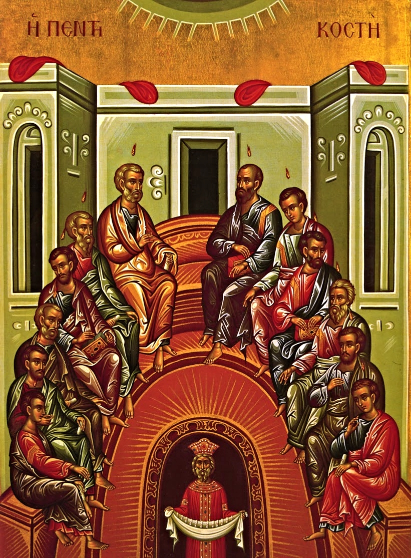 The Icon of Pentecost shows the Apostles, as the founders of  the Capital C Church ,sitting on Mount Zion. They form a semicircle to express the unity of the Church, the Mystical Body of Christ. The icon is not a depiction of the historical events of Pentecost, but signifies that this is a great event for all time.   The Holy Spirit   At the top of the icon is another semicircle, with rays coming from it, pointing toward the Apostles. Tongues of fire are seen descending upon each, signifying the descent of the Holy Spirit.   Christ   At the center of the group of Apostles is an unoccupied place reserved for Christ, the invisible head of the Church. Clearly, no one else can be depicted here.   The Apostles   The Apostles sit orderly, unlike the Ascension icon where they seem confused. This is to show that the gift of the Holy Spirit, the inner life of grace, has been given to the Church.  The group of twelve represent the Church, not just those mentioned in the book of Acts as being with the others on the day of Pentecost. Pictured in the icon is Paul, who became an Apostle of the Church and the greatest missionary. The four Evangelists, Matthew, Mark, Luke, and John, are shown holding the not yet written books of the Gospel. Other Apostles hold scrolls that represent the teaching authority given to them by Christ.   Cosmos   In yet another semicircle, at the bottom of the icon, is a symbolic figure of a king. He is in a dark place that represents the world enveloped by sin. This one person represents the whole world that had formerly been without the light of faith. He is bent over to show he was made old by the sin of Adam. Through the power of the Holy Spirit, the Church brings light to the whole world by her teaching. The figure is shown coming out of darkness into the light, having a cloth containing scrolls which represent the teaching of the Apostles.