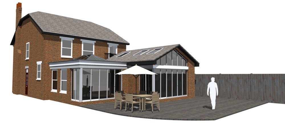 Fig.01 3D Visual of how the Rear Extension and Orangery will look.