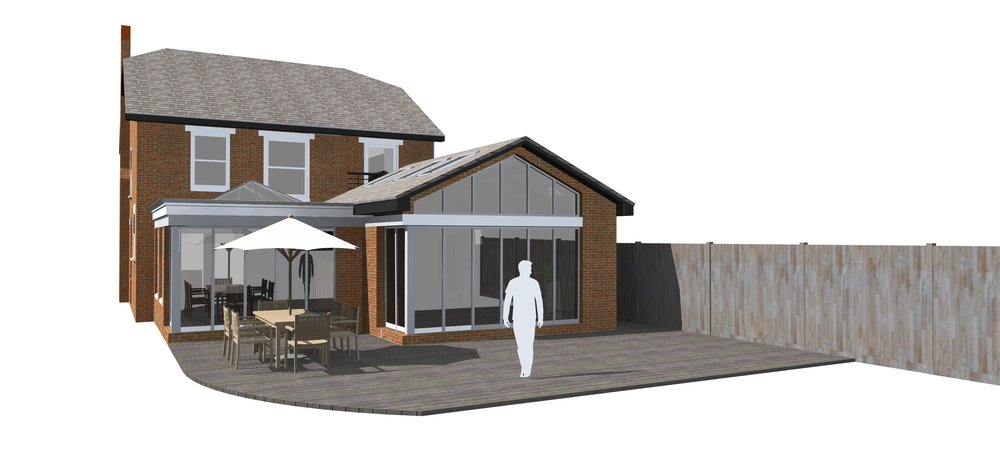 Fig.02 3D Visual of how the Rear Extension and Orangery will look.