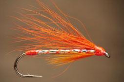 Knyt en whiskyfluga! Skaparen av denna öringfluga: Albert Willock. Bunden av: Peter Hemland för flugan: England. Denna fluga är främst avsedd att fiskas i dammar med utsatt öring eller stilla vatten.. Dressing: Krok: 6-10 Tråd: Röd/orange Kropp: Flat silver glitter, guld kan användas som alternativ. Ribbing: Rött knytsilke, Vinge: Röd eller orange färgat kalvhår. Hals: Röd eller orange tuppfjäder, Huvud: Byggs upp av rött knysilke. Lacka kroppen och huvudet.