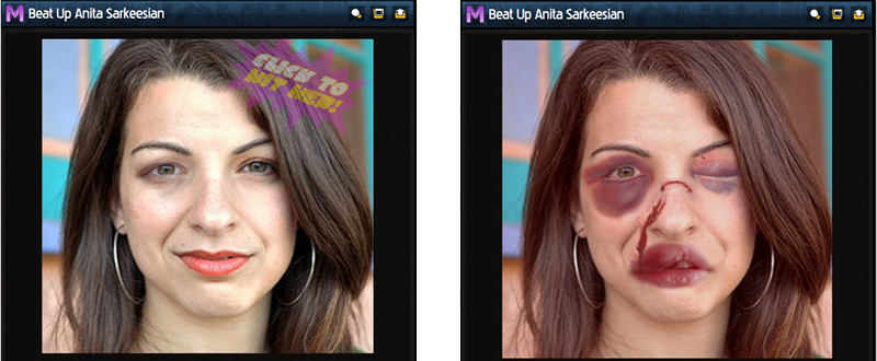 Stills from the flash game Beat Up Anita Sarkeesian
