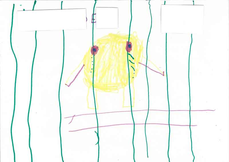 A series of drawings from children in detention submitted to the 2014 National Inquiry into Children in Immigration Detention, Australian Human Rights Commission.