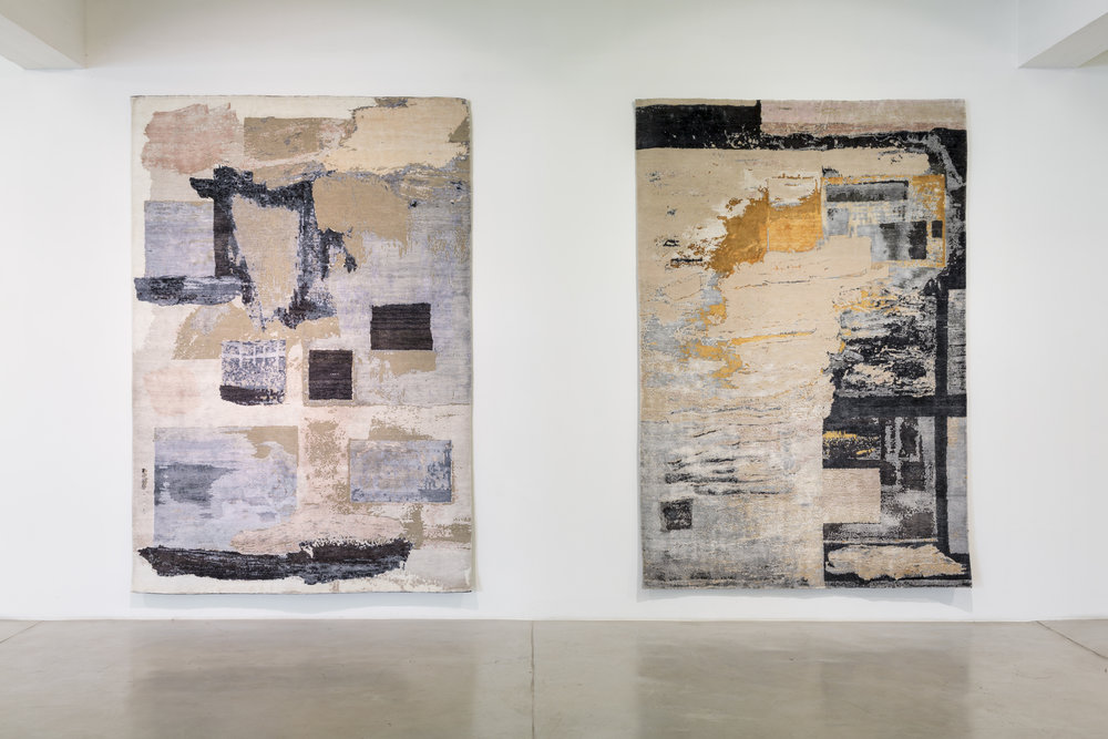Untitled I & II , 2018 , Silk and wool tapestry, 200 x300 cm (each).
