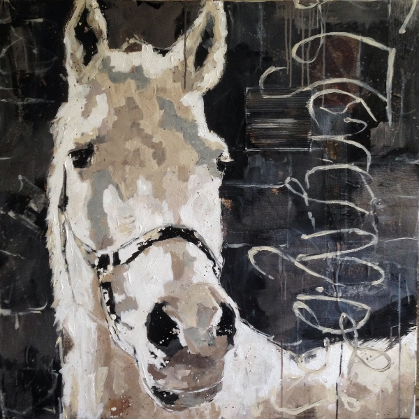 """henry, acrylic/collage on canvas, 36"""" x 36""""  sold"""