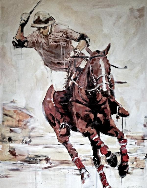 "polo player, acrylic on canvas, 48"" x 60"""