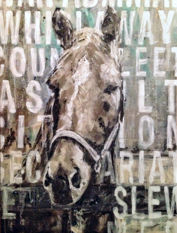 """triple crown, acrylic and collage on canvas, 30"""" x 40""""  sold"""