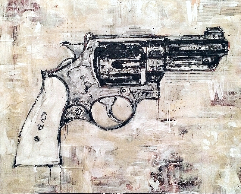 "patton's revolver, collage and acrylic on canvas, 60"" x 48""  sold"