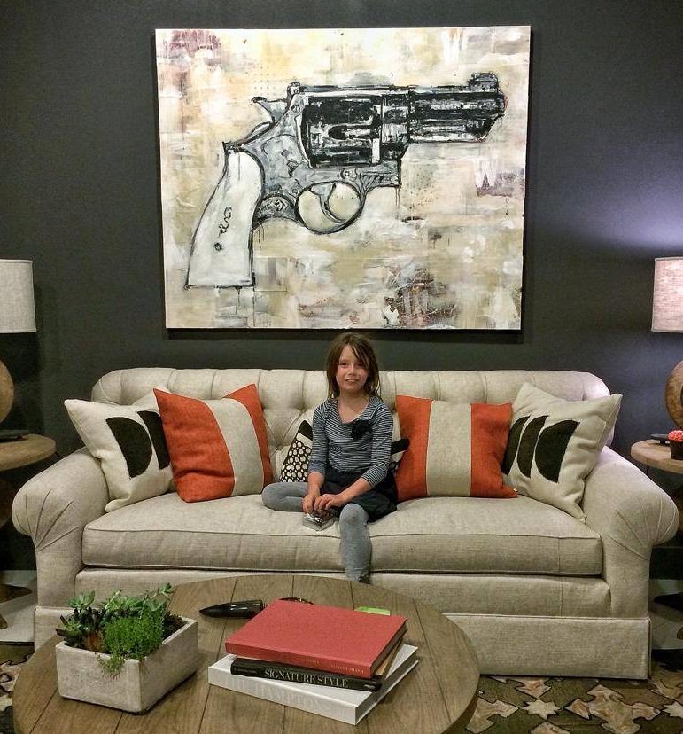 Patton's Revolver, mixed media on canvas, 48 x 60, sold