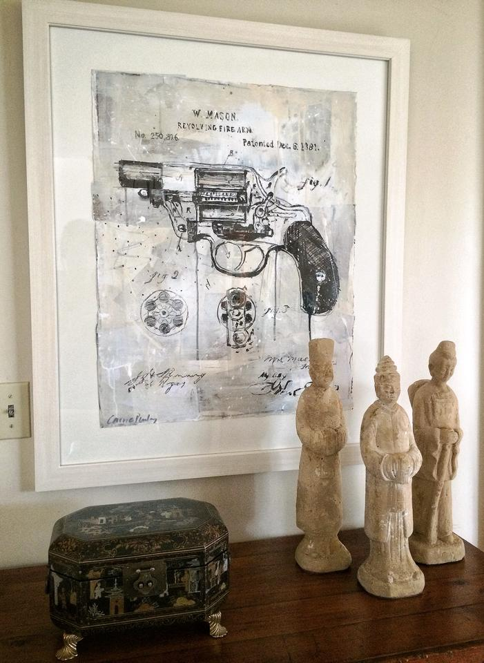 gun painting on paper, artwork 18 x 24, overall 28 x 34  available