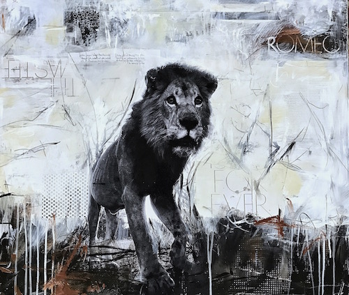 "collaborative |  Mike Fell Safaris   acrylic, photo, and collage on birch panel, 30""x36""  available"