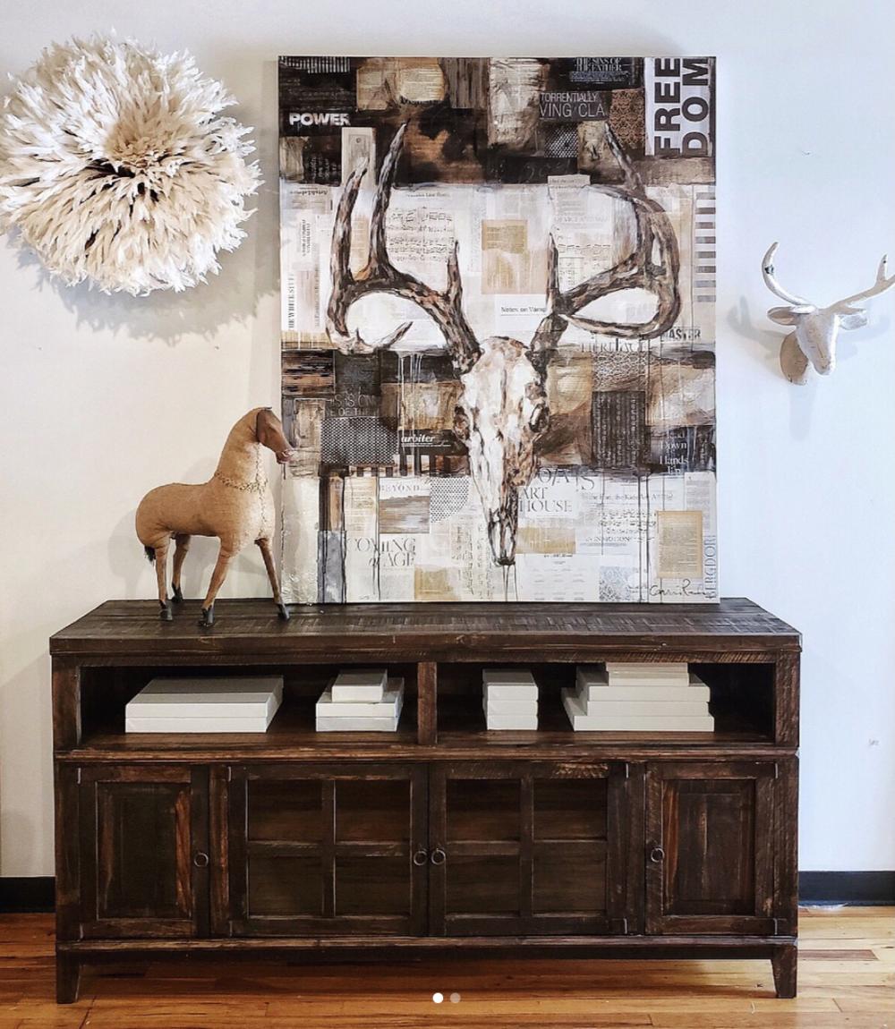 deer skull, mixed media on canvas, 48 x 60