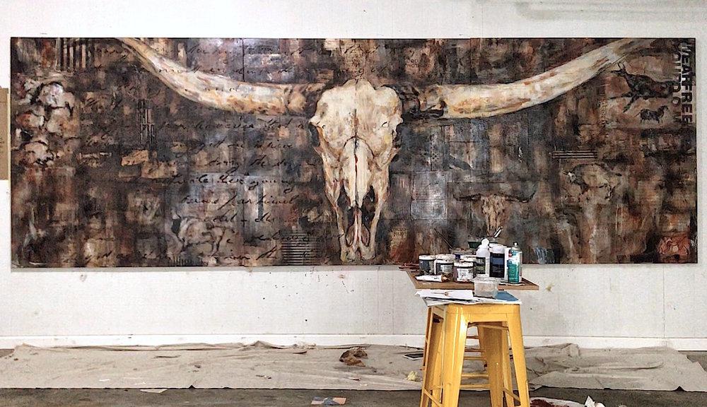 steer skull, Arnette's Chop Shop, mixed media on birch panel, 5' x 15'